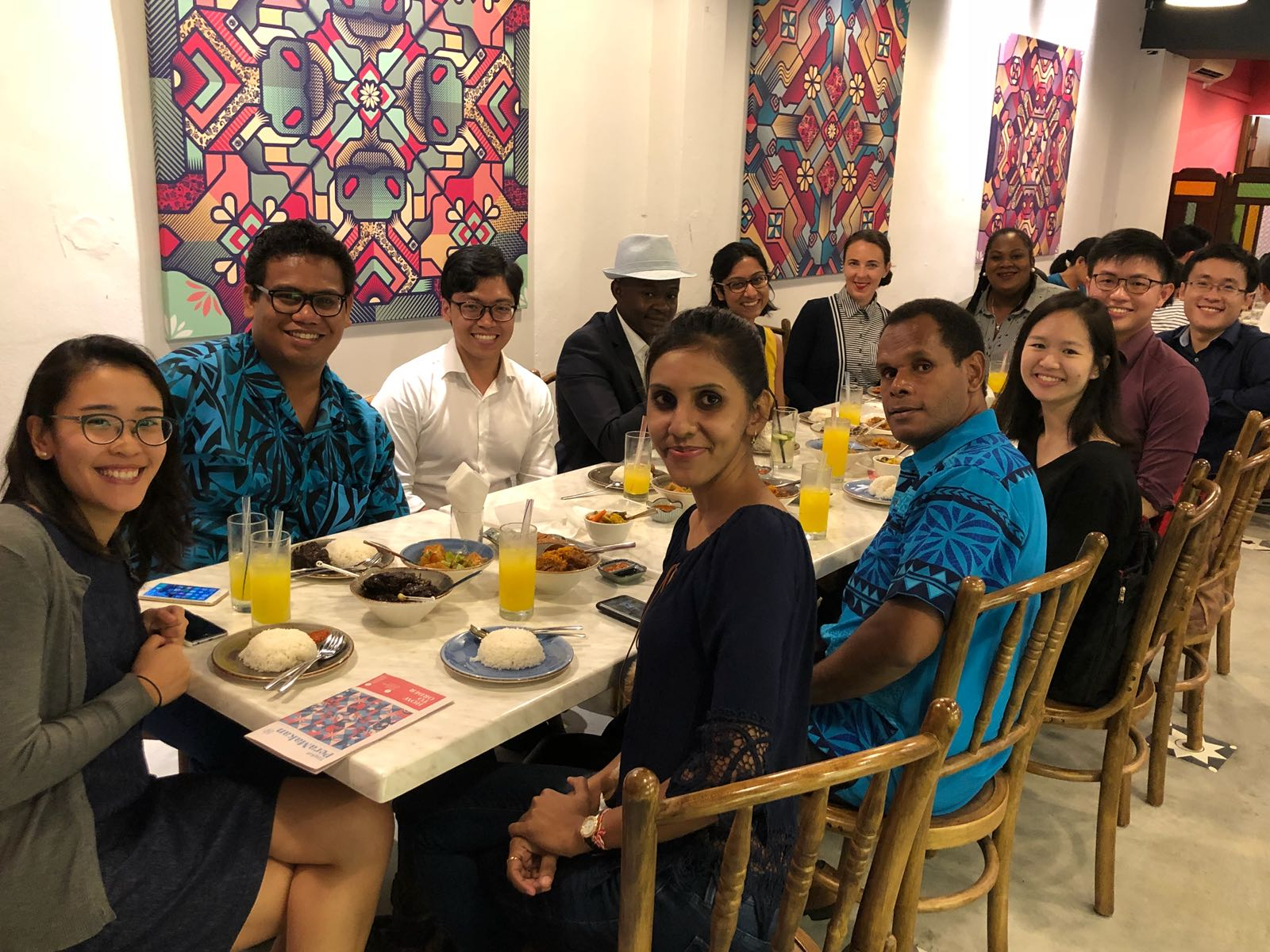 PFD 2018 participants having fun and enjoying Peranakan cuisine with Singapore MFA colleagues from the International Organisations Directorate and the Australia/New Zealand and The Pacific Directorate during the social night out on 10 May 2018