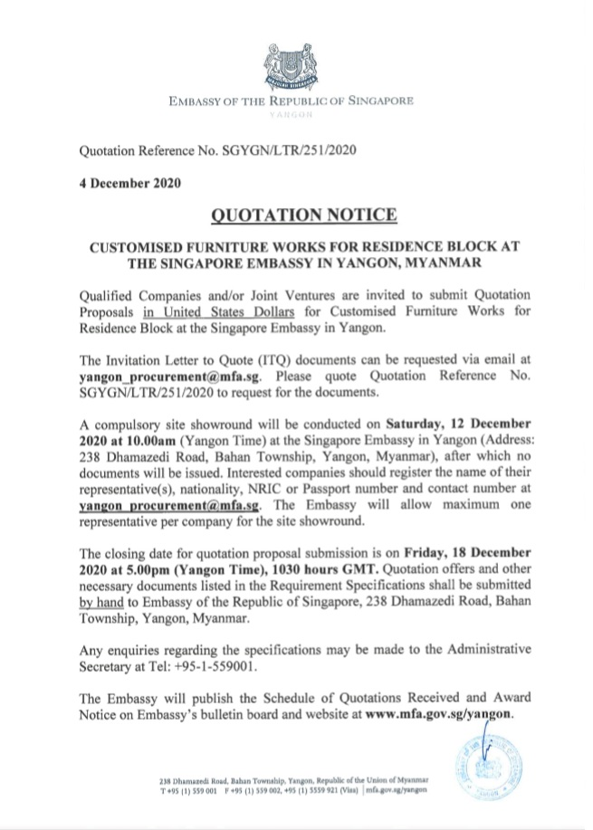 Quotation Notice for Furniture Works at Residence Block